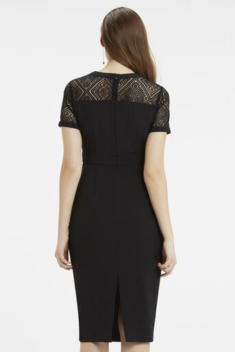 Oasis, Lace Trim Pencil Dress Black 3