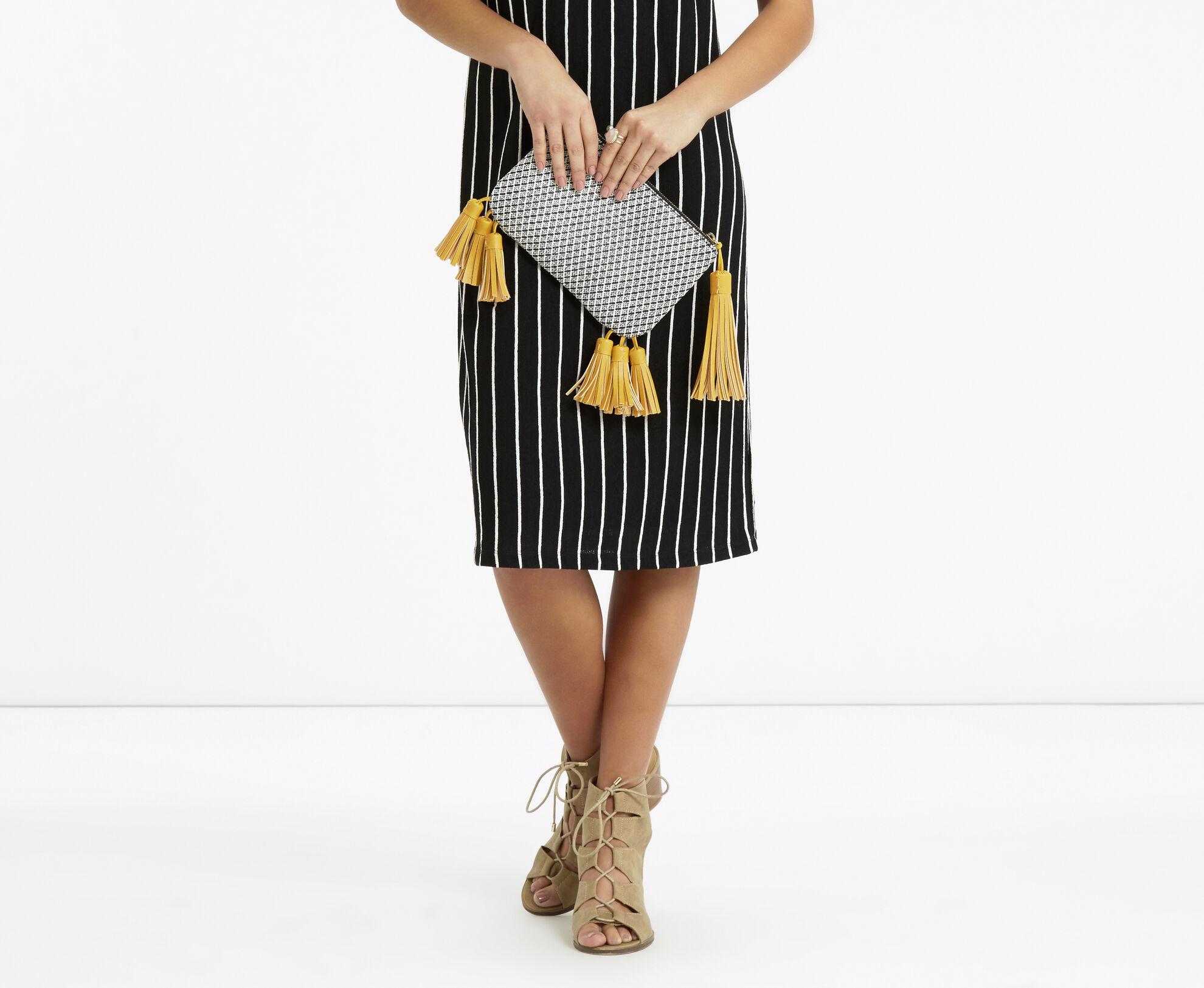 Oasis, Monica Tassel Clutch Bag Black and White 1