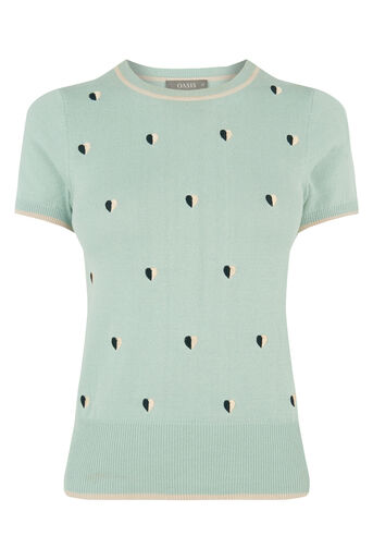 Oasis, HEART CUTE EMBROIDERED KNIT Teal Green 0