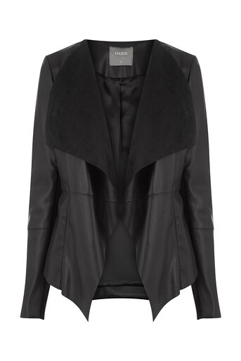 Oasis, FAUX LEATHER WATERFALL JACKET Black 0