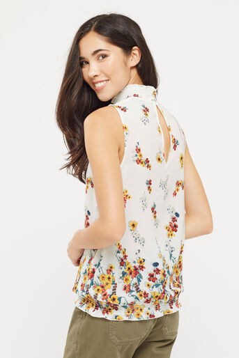 Oasis, BORDER FLORAL HIGH NECK SHELL Multi Natural 3