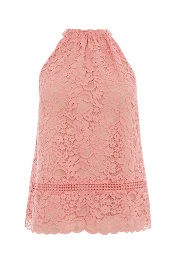 Oasis, LACE HALTER TOP Coral 0
