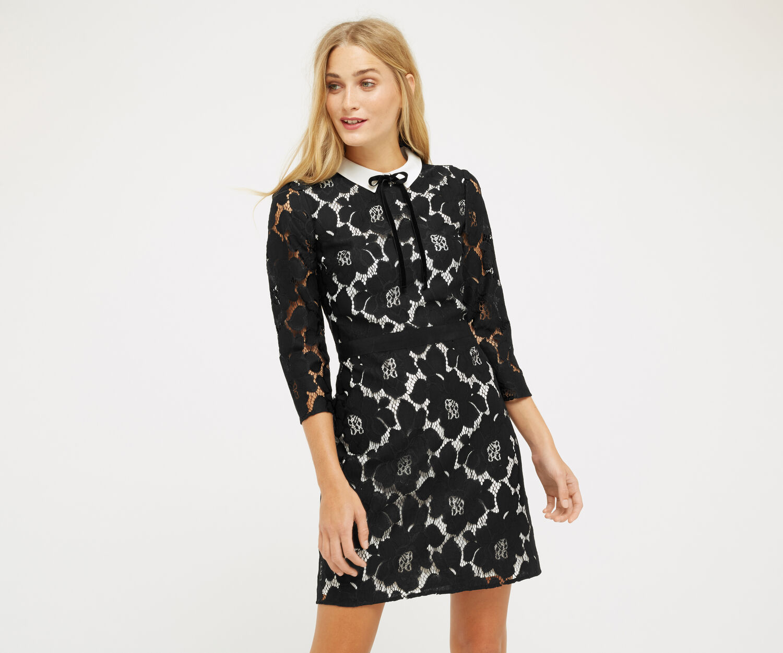 Oasis, LACE COLLAR DRESS Black 1