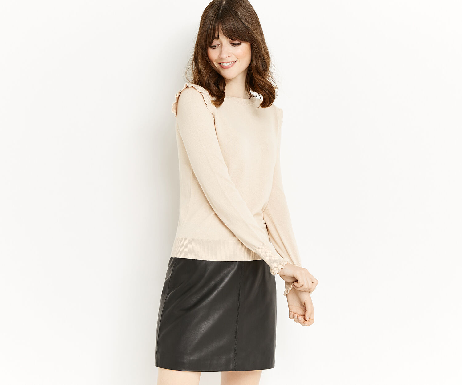 Oasis, FRILL SHOULDER & CUFF KNIT Light Neutral 1