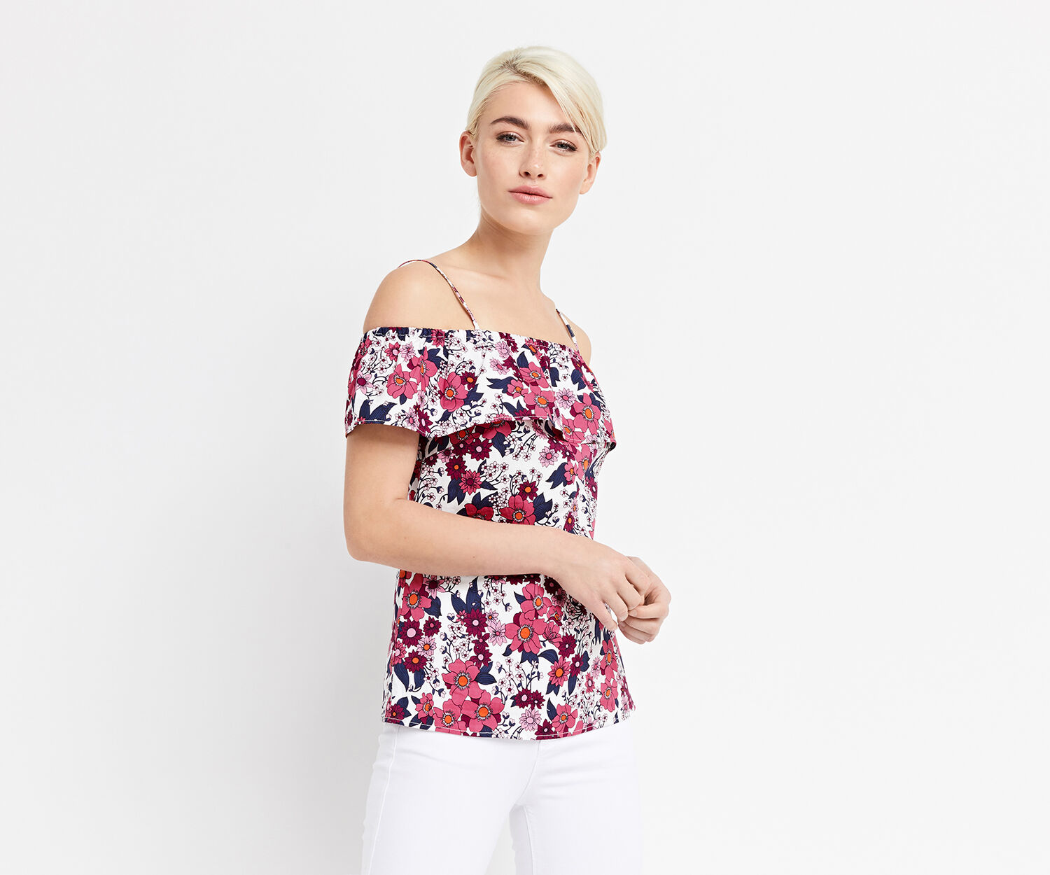 Oasis, CLEO COTTON BARDOT TOP Multi Natural 1