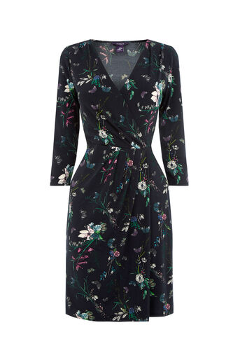 Oasis, FOREST WRAP SKATER DRESS Navy 0