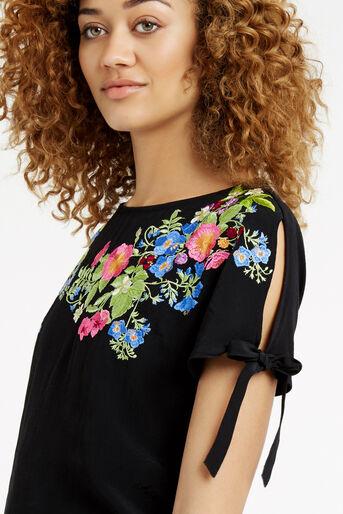 Oasis, Embroidered Floral Tie Side T- Black 4