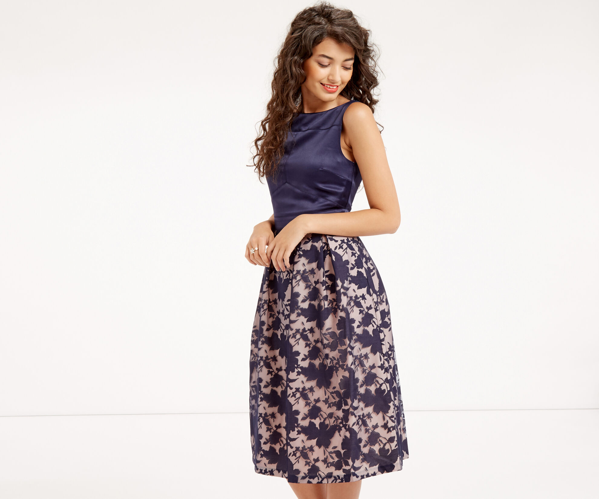 Oasis, ORGANZA MIDI DRESS Navy 1