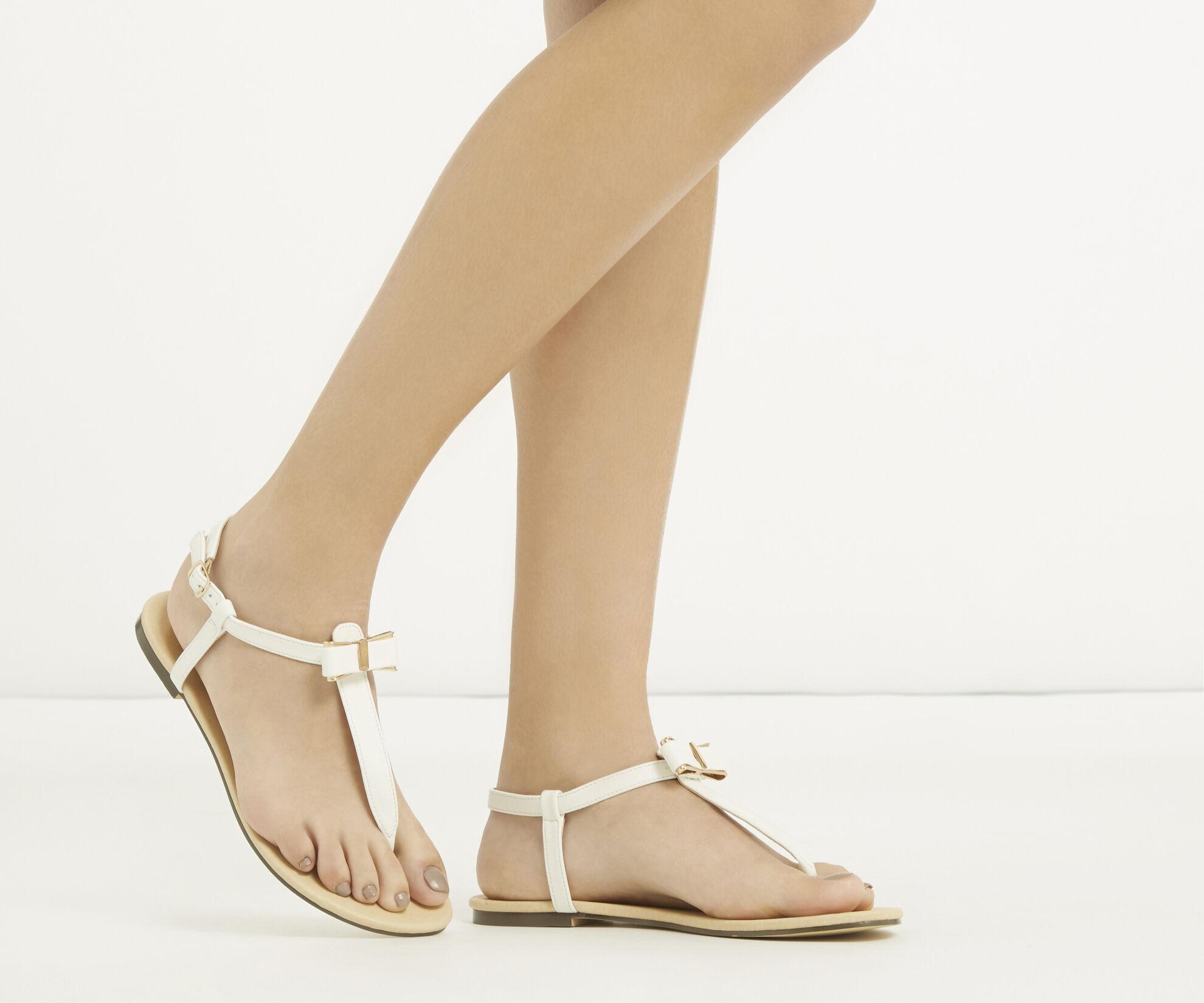 Oasis, Bow Sandal White 1