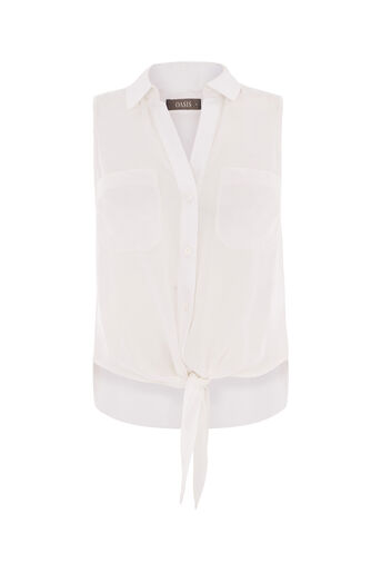 Oasis, TIE FRONT SLEEVELESS SHIRT White 0