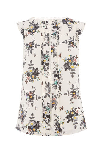 Oasis, MARIE PINTUCK TRIM TOP Off White 0
