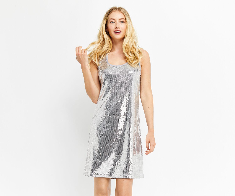 Oasis, SEQUIN VEST DRESS Pale Grey 1