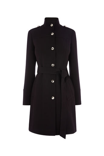 Oasis, LUCILLE FUNNEL NECK COAT Black 0