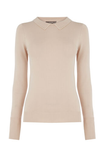 Oasis, EMBELLISHED COLLAR KNIT Light Neutral 0