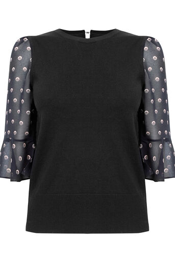 Oasis, Spot fluted sleeve knit Multi Black 0