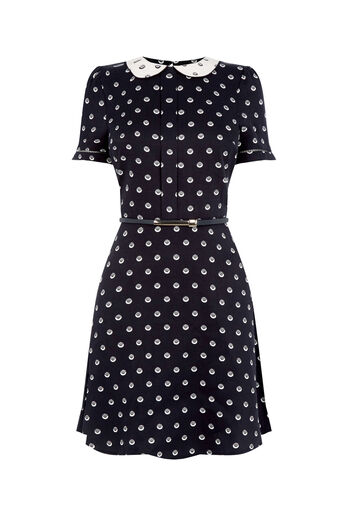 Oasis, SPOT COLLAR SKATER DRESS Multi Black 0