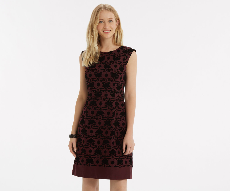 Oasis, Flocked Nouveau Skater Dress Multi 1