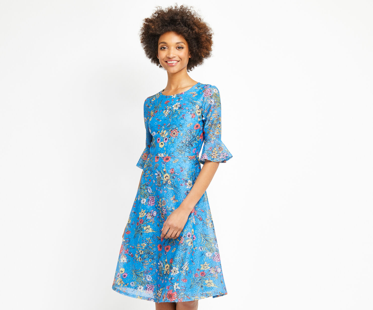 Oasis, AZALEA MIDI DRESS Multi Blue 1