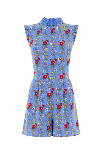 Oasis, POPPYFIELD LACE TRIM PLAYSUIT Multi Blue 0