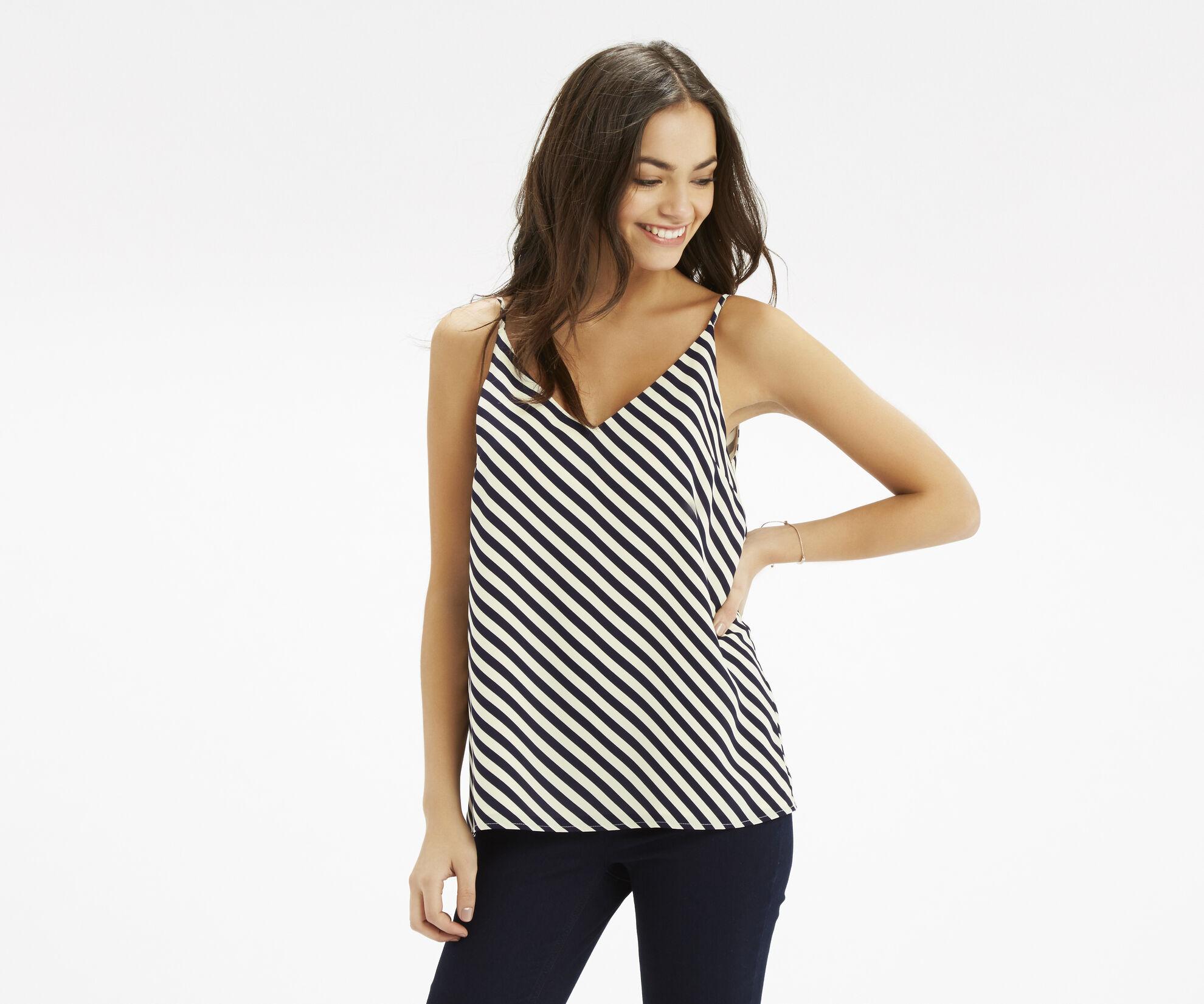 Oasis, Diagonal Stripe V Neck Cami Multi 1