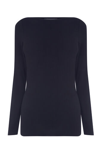 Oasis, ENVELOPE NECK TOP Navy 0