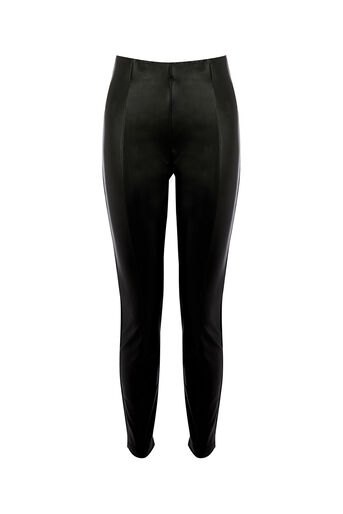 Oasis, FAUX LEATHER STRETCH LEGGINGS Black 0