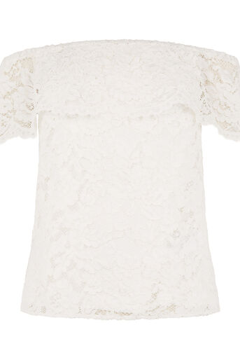 Oasis, LACE BARDOT TOP White 0