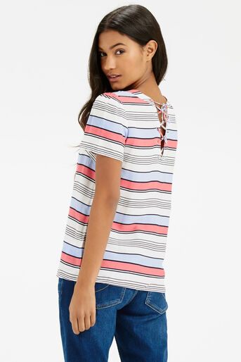 Oasis, Laced Back Stripe T-Shirt Multi Blue 3