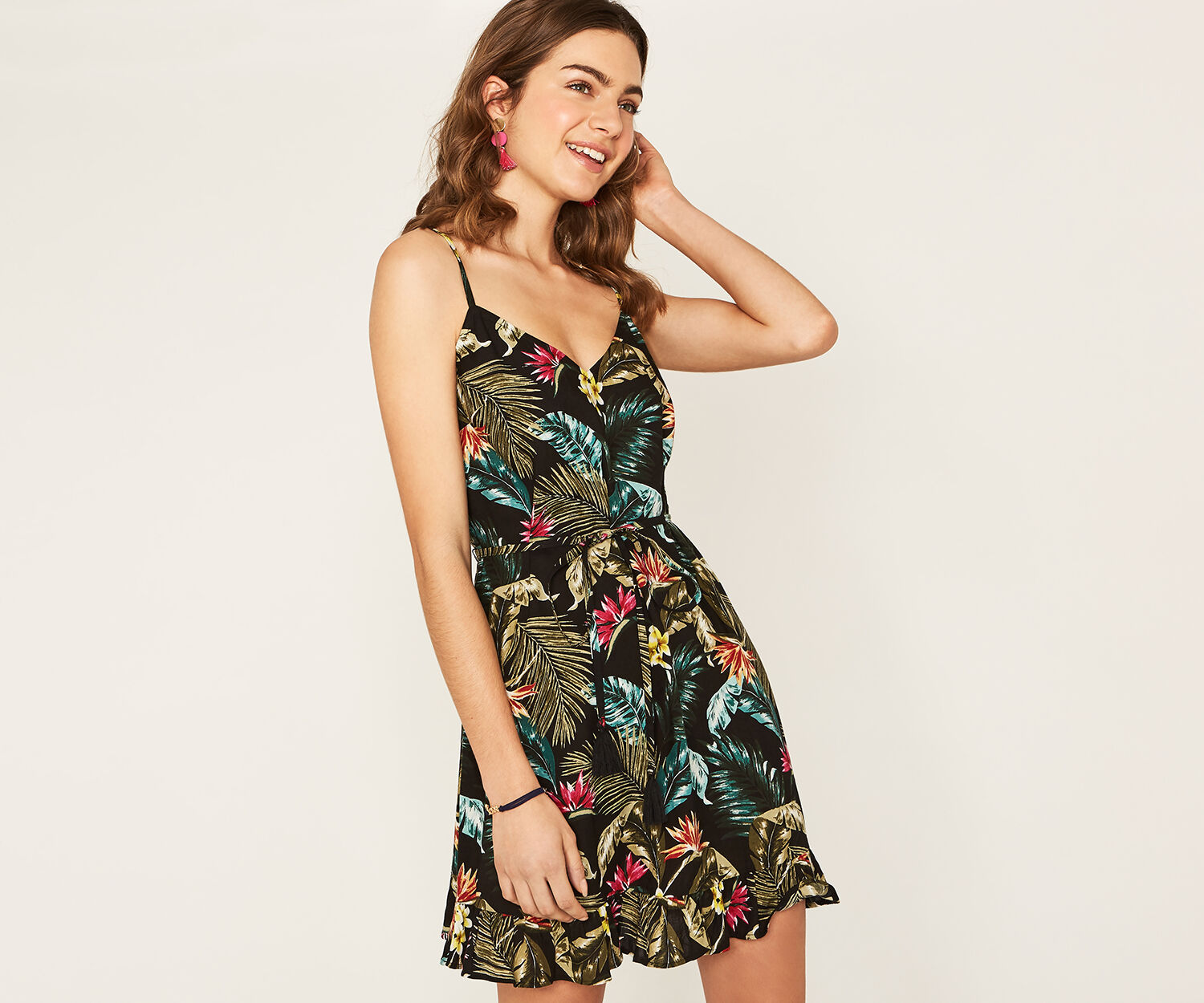 Oasis, MIAMI TROPICAL DRESS Multi Black 1