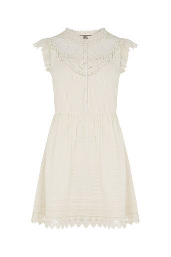 Oasis, Delicate Lace Yoke Shirt Dress Off White 0
