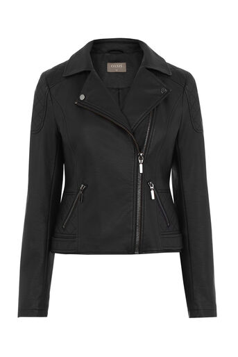 Oasis, FAUX LEATHER BIKER JACKET Black 0