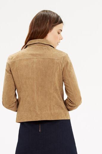 Oasis, Suede Harrington Jacket Tan 3