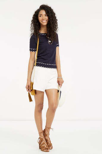 Oasis, Cute tipped SS knit Navy 2