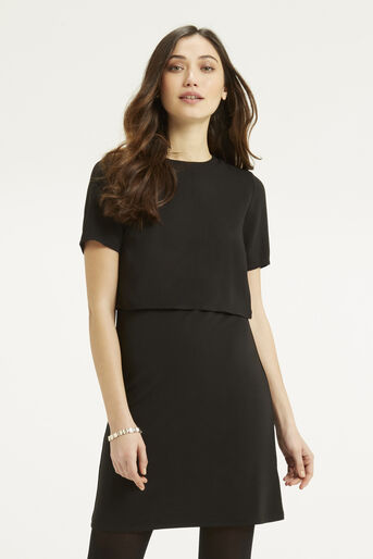 Oasis, Crepe 2 in 1 Dress Black 1