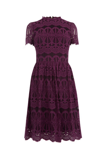 Oasis, LONG LACE SKATER DRESS Burgundy 0