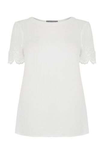 Oasis, LACE TRIM TEE White 0