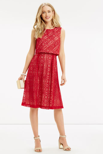 Oasis, Lace 2 In 1 Midi Dress Berry 2