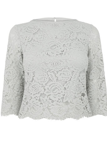 Oasis, LACE TOP Pale Grey 0
