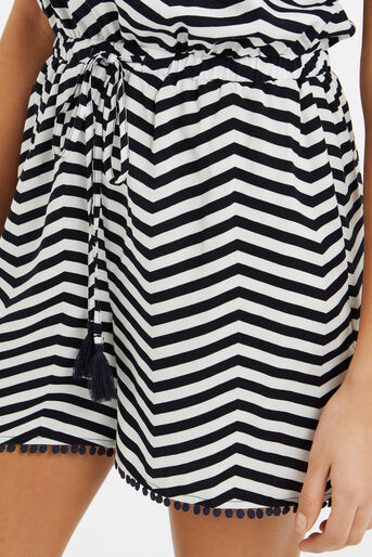 Oasis, Stripe Playsuit Black and White 4