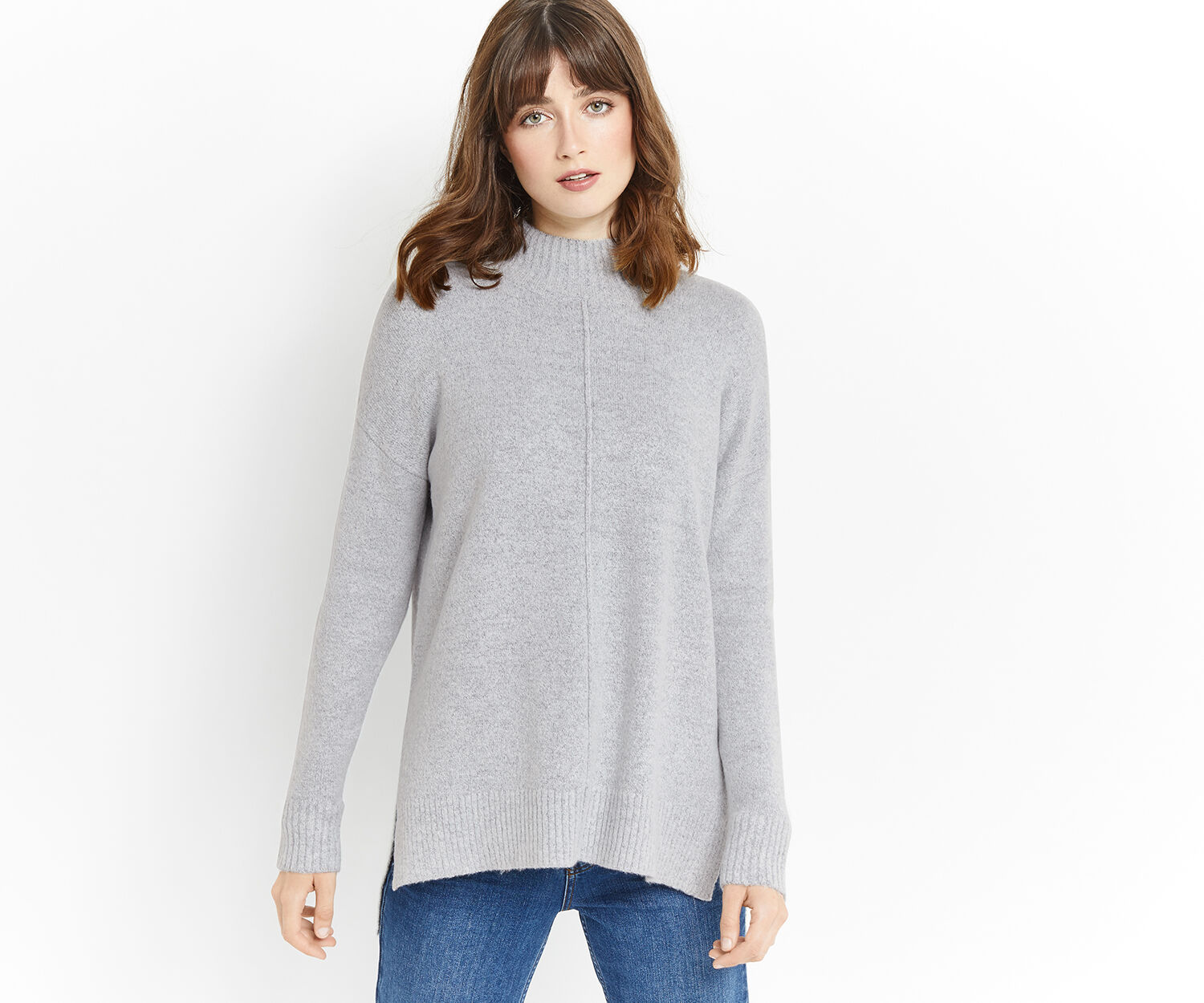 Oasis, FUNNEL NECK LONG KNIT Mid Grey 1
