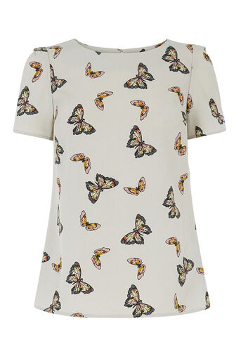 Oasis, Butterfly Print T-Shirt Mid Grey 0