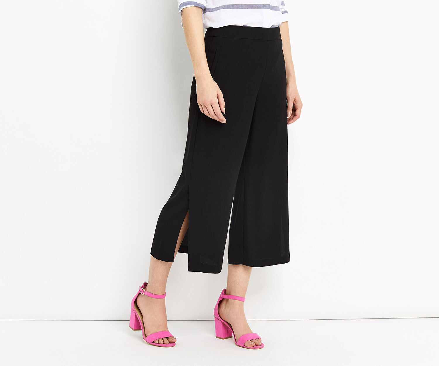 Oasis, SPLIT HEM CROP TROUSER Black 1
