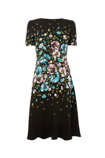 Oasis, LONG ROSSETTI SKATER DRESS Multi Black 0