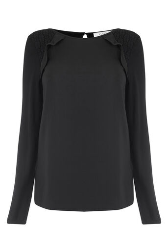 Oasis, RUFFLE WOVEN FRONT BLOUSE Black 0