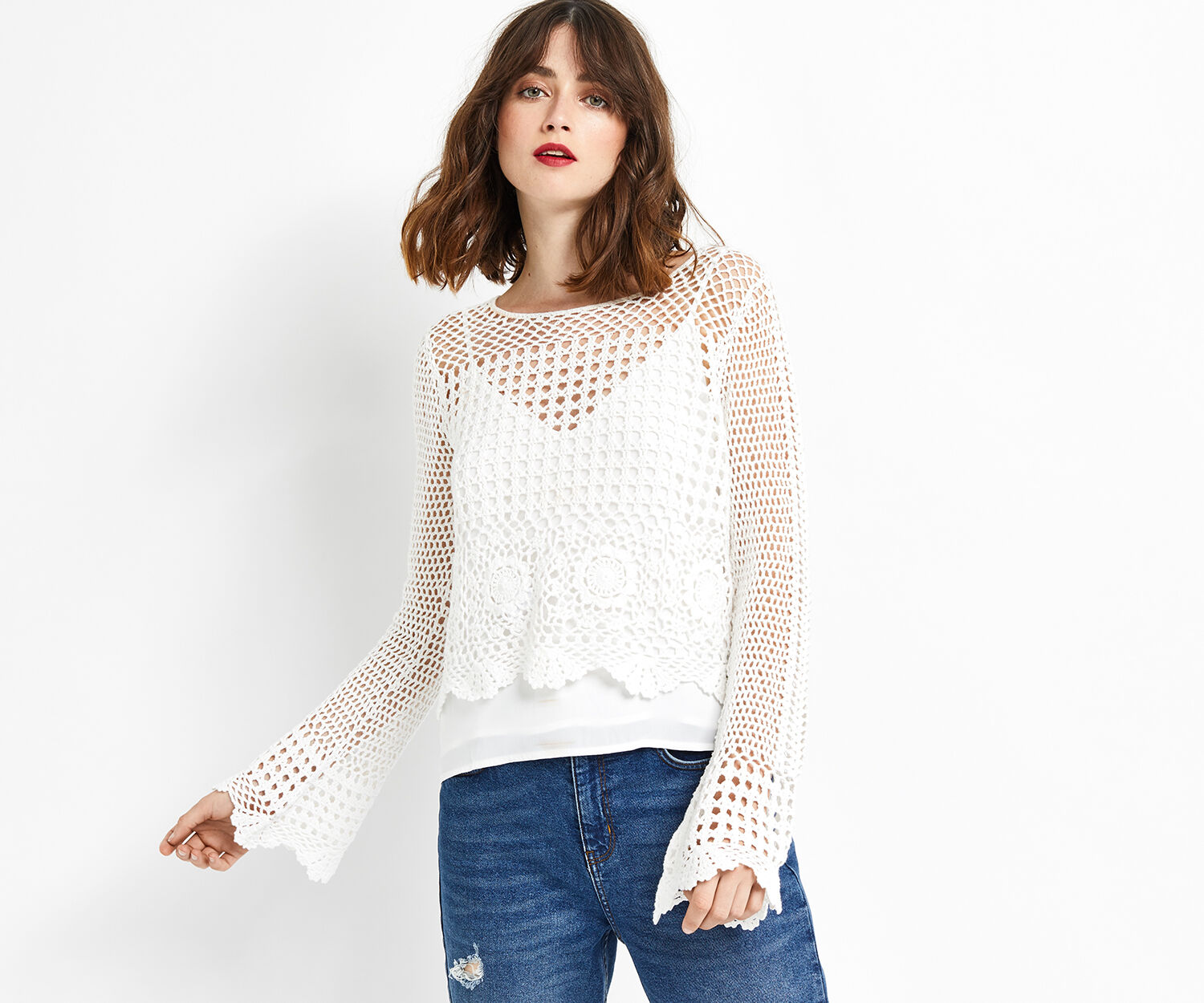 Oasis, CROCHET TOP Off White 1
