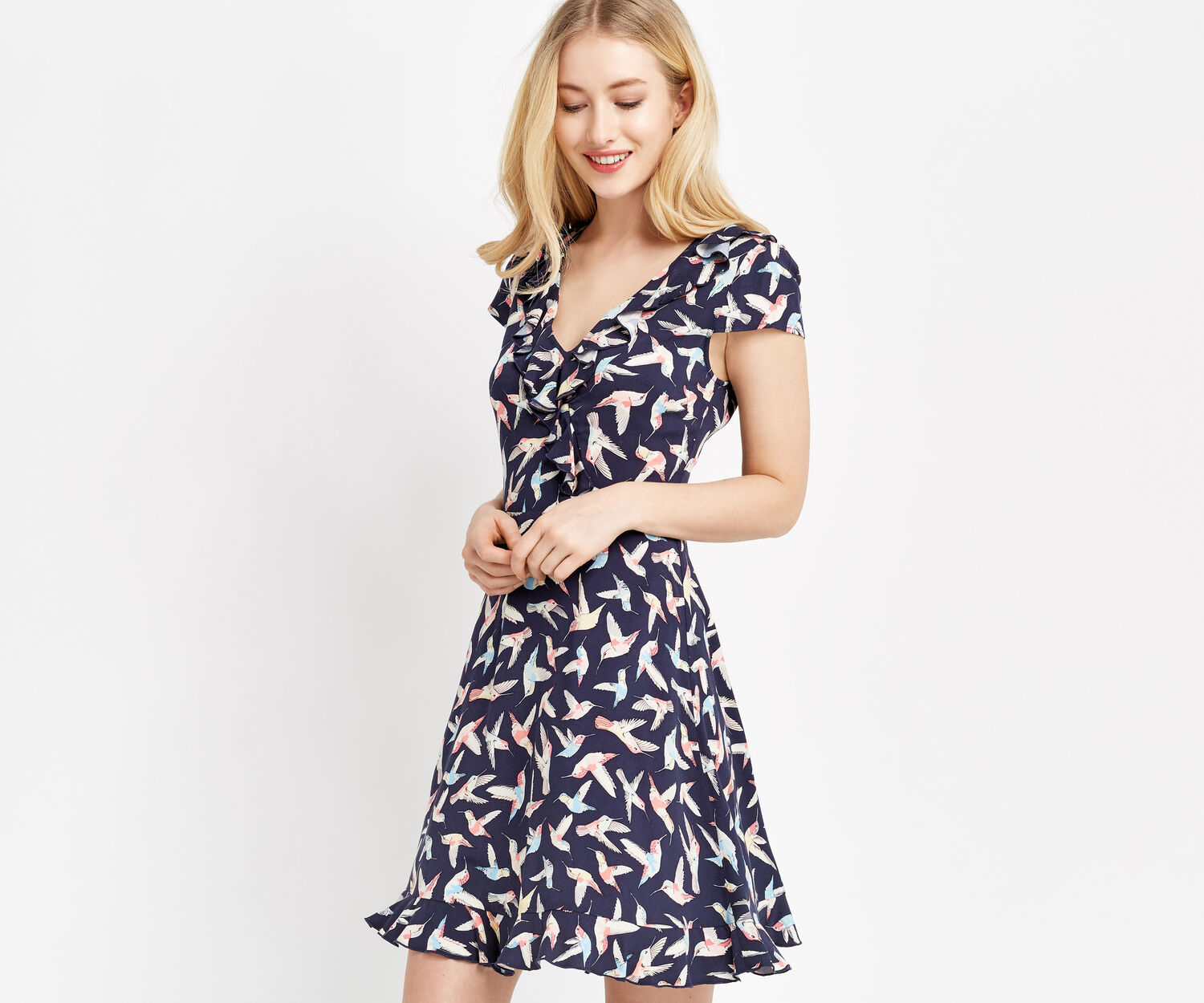 Oasis, HUMMINGBIRD TEA DRESS Multi Blue 1