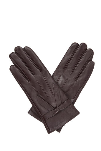 Oasis, LEATHER BOW GLOVE Burgundy 0