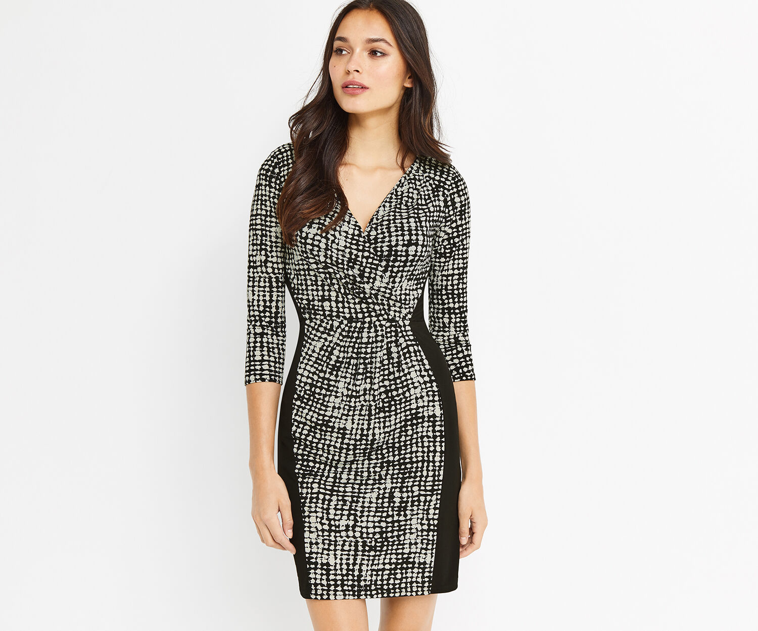 Oasis, MONO CREPE WRAP DRESS Multi Black 1