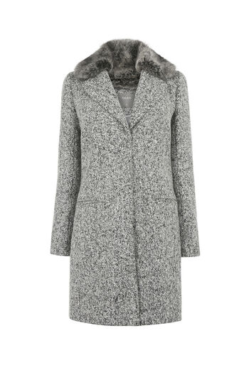 Oasis, FELICITY FAUX FUR COLLAR COAT Mid Grey 0