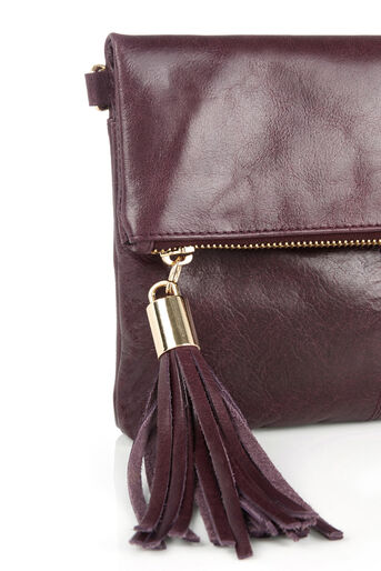 Oasis, Leather Ora Cross-Body Bag Burgundy 3